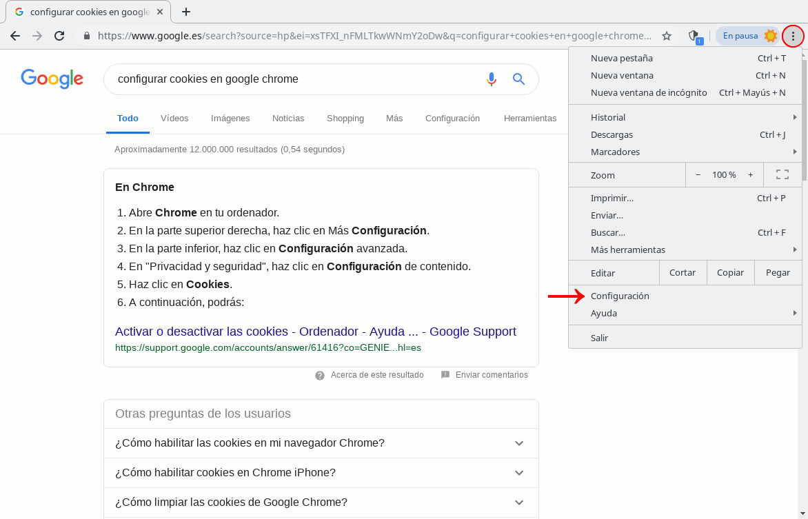 Configurar cookies en Google Chrome (1)